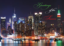 Waterfront Lights New York  City Christmas Card