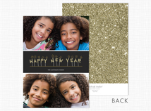 Happy New Year Flat 2 Photo Holiday Card